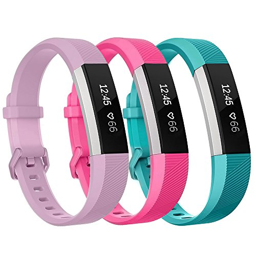 Henoda Compatible with Fitbit Alta/Fitbit Alta HR Bands, Small 3 Color Soft Replacement Band Adjustable Sport Strap Compatible for Fitbit Alta/Fitbit Alta HR/Fitbit Ace Fitness Wristbands