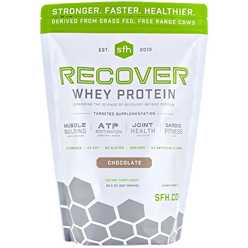 Recover Whey Protein Powder (Chocolate) by SFH | Great Tasting 100% Grass Fed Whey for Post Workout | All Natural | No Soy, No Gluten, No RBST, No Artificial Flavors -