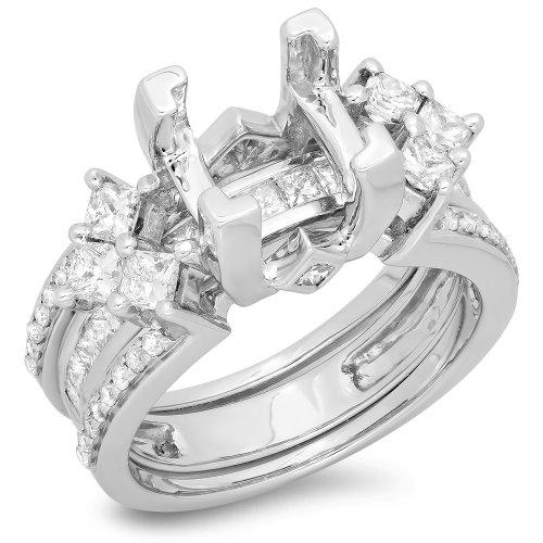 Bridal Semi Set - 1.75 Carat (ctw) 18K White Gold Princess & Round Diamond Ladies Bridal Semi Mount Engagement Ring With Matching Band Set 1 3/4 CT (No Center Stone) (Size 5)