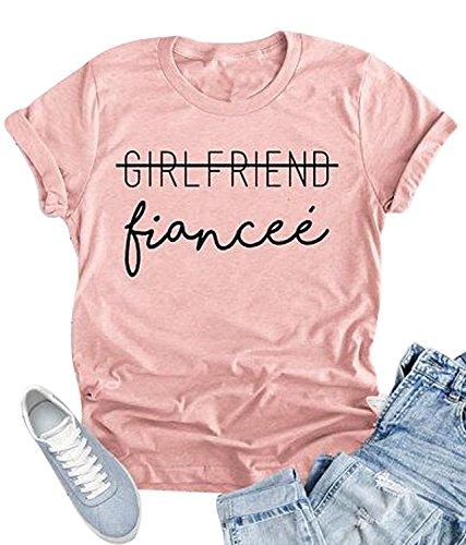 - Girlfriend Fiancee T Shirt Women Funny Letter Print Tees Shirt Summer O Neck Tops (M, Pink)