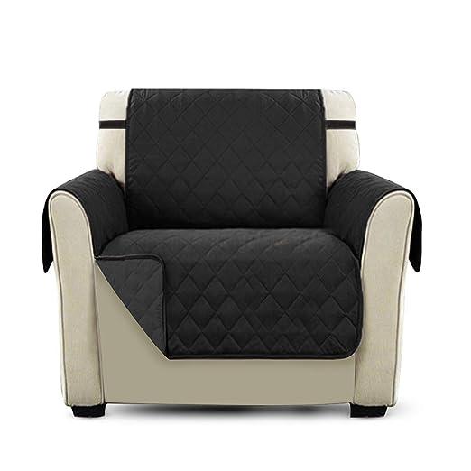 PETCUTE Cubre para Silla Fundas de Sofa Protector de sofá o sillón, Dos o Tres plazas Negro Silla