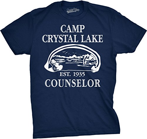 Mens Camp Crystal Lake T Shirt Funny Shirts Camping Vintage Horror Novelty Tees (Navy) - L ()