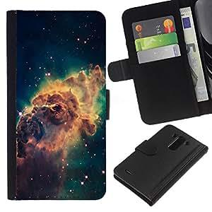 LG G3 D855 D850 D851 , la tarjeta de Crédito Slots PU Funda de cuero Monedero caso cubierta de piel ( Galaxy Space Dust Gas Stars Cluster Yellow)