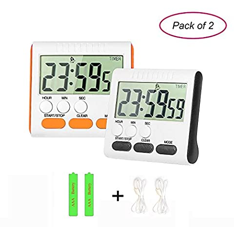 Digital Kitchen Timer PJS-MAX Cooking Timer Clock with Clear LCD Display Loud Alarm Magnetic Back and Retractable Stand (Black and (Kitchen Digital Clock)