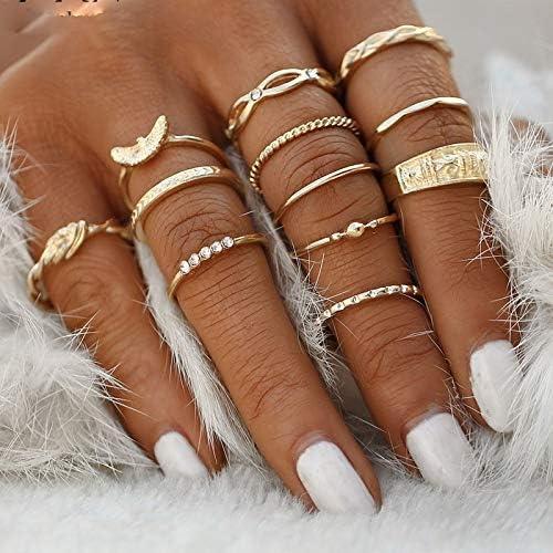 9 Pcs//set Gold Midi Finger Ring Set Vintage Punk Boho Knuckle Rings Jewelry NEW