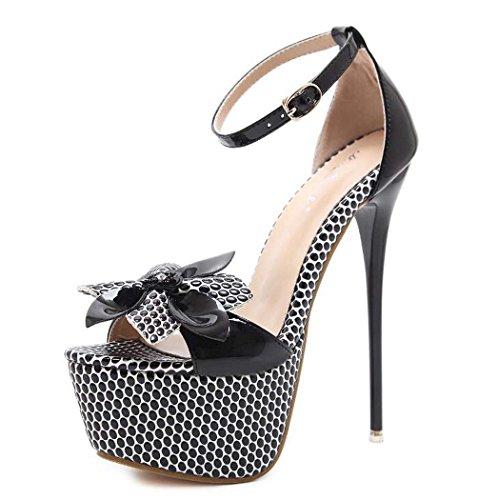 Talla Mujer Alto Negro 40 con 34 Plataforma Negro Tacón Abierta Sandalias Zapatos Punta de de w4q1P1