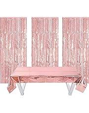 3 stuks folie franjesgordijnen, 1 stuks decoratief tafelkleed, glittergordijnen, decoratie voor feest, bruiloft, verjaardag decoratie
