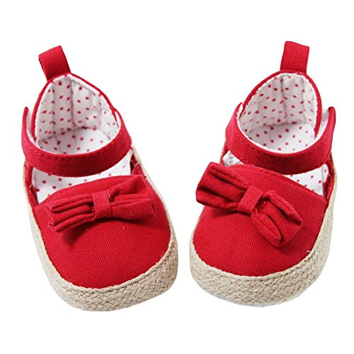(Baby Girls Red Khaki Canvas Bow Adorned Espadrille Lined Sandals 0-6M)