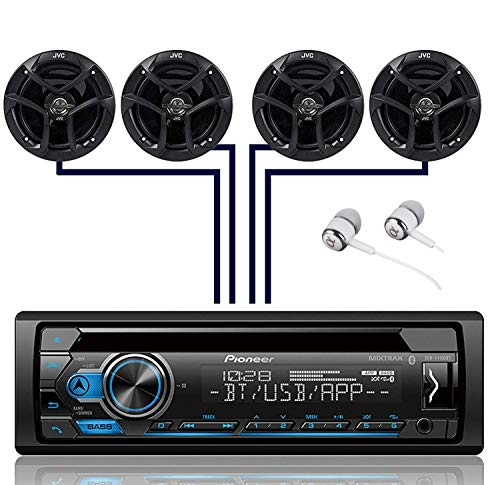 Pioneer DEH-S4100BT Single DIN Bluetooth in-Dash CD USB MP3 AUX AM/FM MIXTRAX Pandora Spotify Android Car Stereo Receiver with 2 Pairs JVC 6.5' 300W 2-Way Coaxial Car Speakers