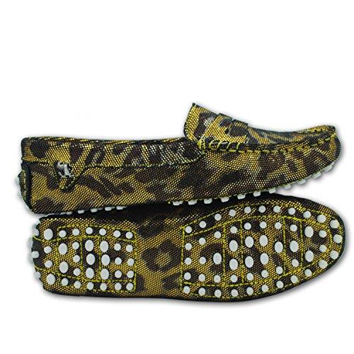 Minitoo comfortt Casual pour femme en cuir véritable à Chaussures bateau pour extérieur Multicolore - Or - Gold Snake, 38 2/3