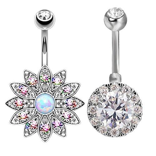 Han Jewelry 2PCS Stainless Steel Body Piercing Jewelry CZ Diamond Sun Flower Belly Button Rings