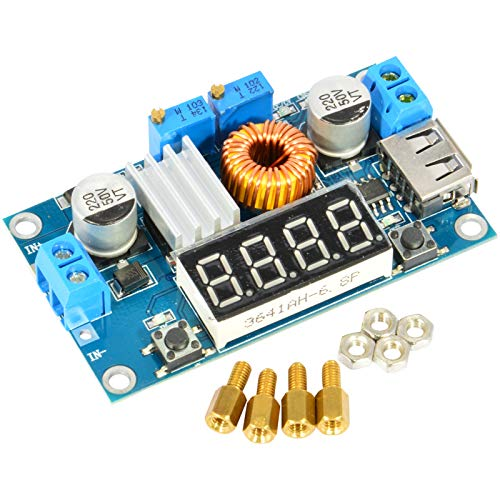 JacobsParts XL4015 5A DC-DC Buck Step Down Voltage Constant Current Converter Module Adjustable Power Regulator Board with LED Voltmeter & USB Output
