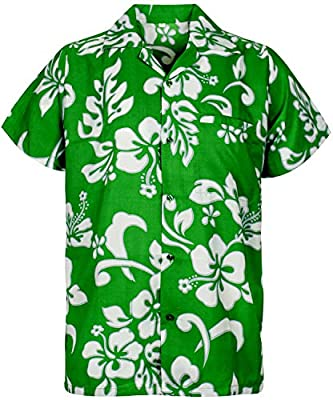 King Kameha Hawaiian Shirt for Men Funky Casual Button Down Very Loud Shortsleeve Unisex Hibiscus