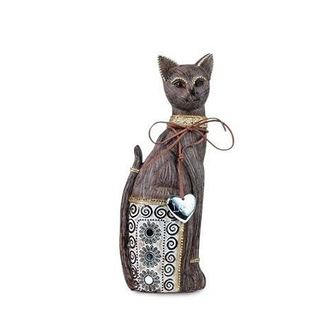 CAPRILO Figura Decorativa de Resina Gato con Colgante Love. Adornos y Esculturas. Decoración Hogar