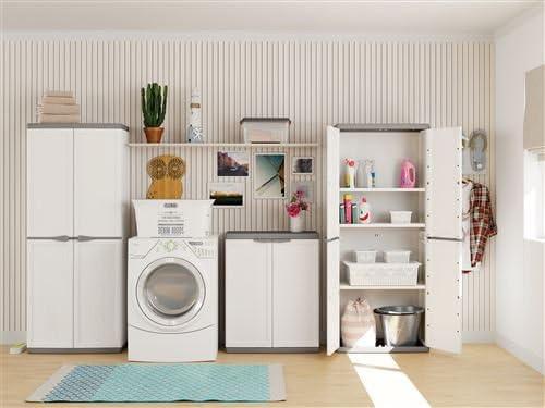 Kis 9732000 0447 01 Armoire Haute Jolly Blanc-Gris Plastique 68 x 39 x 166 cm