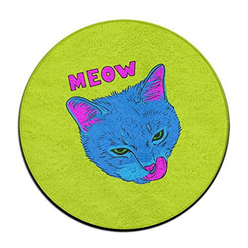 GT-0UJR MEOW Pop Art Cat Non-slip Mats Circular Carpet Mats Dining Room Bedroom Carpet Floor Mat 23.6 Inch (Welcome Mat Costume)