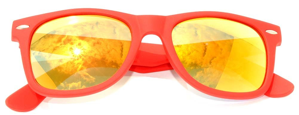 Classic Vintage Reflective Gold Mirror Lens Sunglasses Red Frame Retro