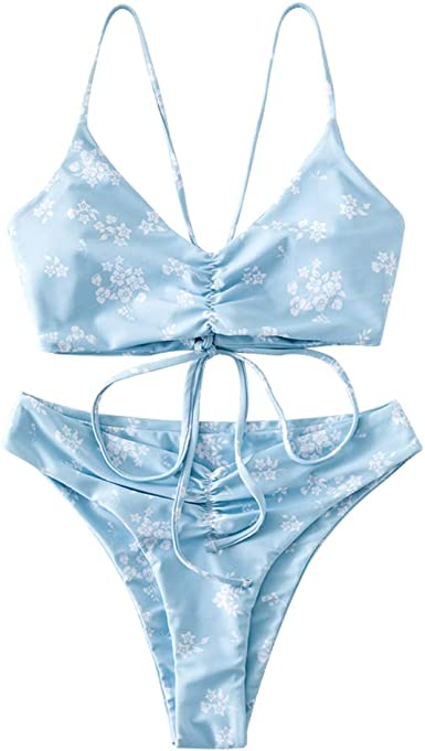 FOBEXISS Womens Tie Dye Racerback 2Pcs Swimsuits Striped Tummy Control Bathing Suits Spaghetti Straps Tankini Sets