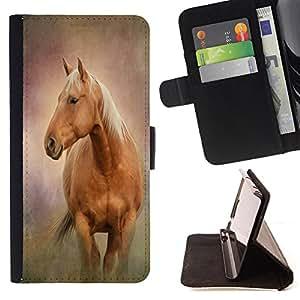 - Horse Cute - - Monedero PU titular de la tarjeta de cr?dito de cuero cubierta de la caja de la bolsa FOR Samsung Galaxy S6 Retro Candy