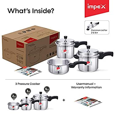 Impex IFC 235 Induction Base Aluminium Pressure Cooker Family Combo Set with Outer Lid (Silver, 2, 3 and 5 L) 12
