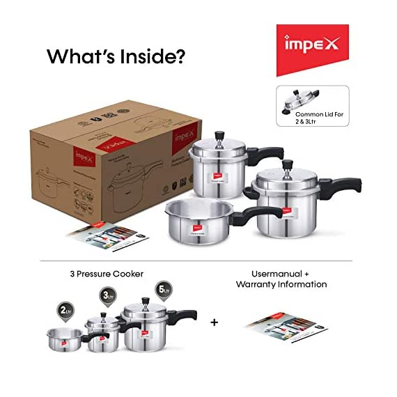 Impex IFC 235 Induction Base Aluminium Pressure Cooker Family Combo Set with Outer Lid (Silver, 2, 3 and 5 L) 5