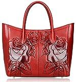 PIJUSHI Designer Women's Floral Leather Tote Shoulder Handbags 65307 (One size, Red)