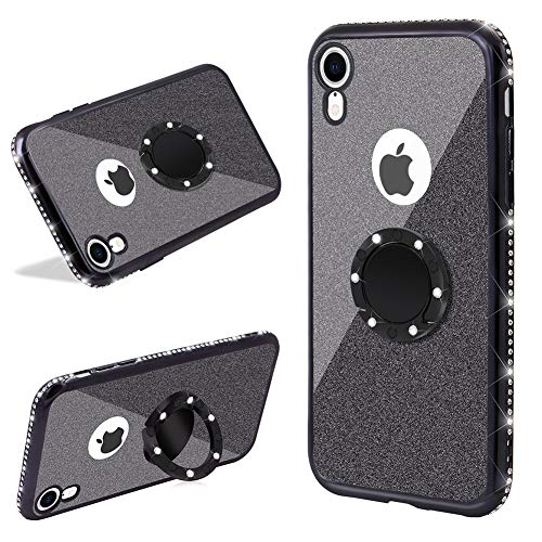 LCHDA 2 in 1 Glitter Silicone Case with Ring Holder For iPhone XR,Finger Grip Stand Bling Sparkle Diamond Rhinestone Bumper Cute Luxury Sparkle Shockproof Protective Girl Women Cover,Black