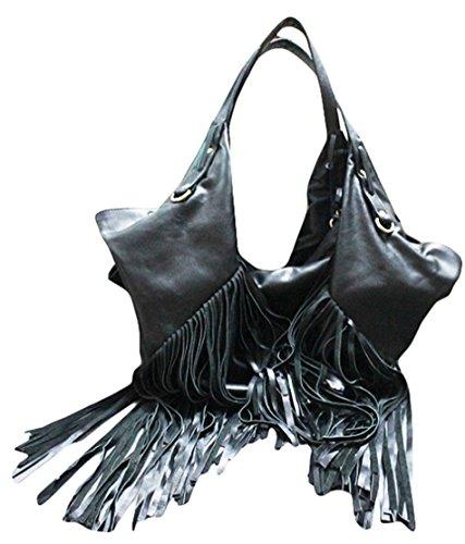11sunshop BAG-SAVA - Bolso de asas para mujer Negro negro M
