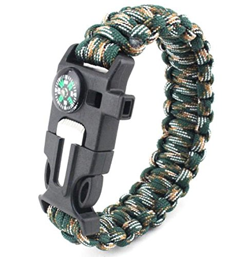 Q4Home Survival Bracelet, 5 in 1. para-Cord, Fire-Starter Flint, Whistle, Compass, Tool (Army Green)
