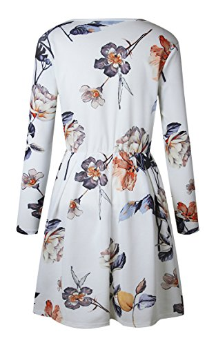 Line A Womens Angashion Mini White Pleated Print Sleeve Long Floral Dresses Swing Dress Casual Skater PSSTqB