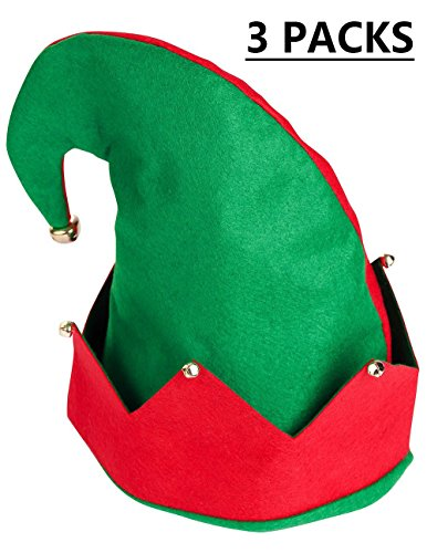Moon Boat 3Pack Christmas Elf Felt Hat - Jingle Bells Xmas Holiday Party Costume Favors Gifts -