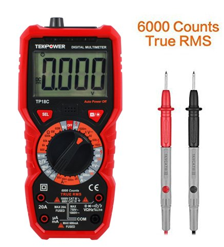 (Tekpower TP18C General Purpose Manual-ranging True RMS AC/DC 20A Digital Multimeter with Non-contact Voltage Detector (NCV), Live Wire Tester & Flashlight)