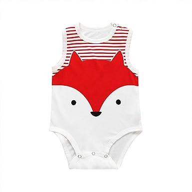 64445e85e31e Amazon.com  LiLiMeng Newborn Kids Baby Boys Girls Sleeveless Cotton Jumpsuit  Cartoon Print Rompers  Clothing