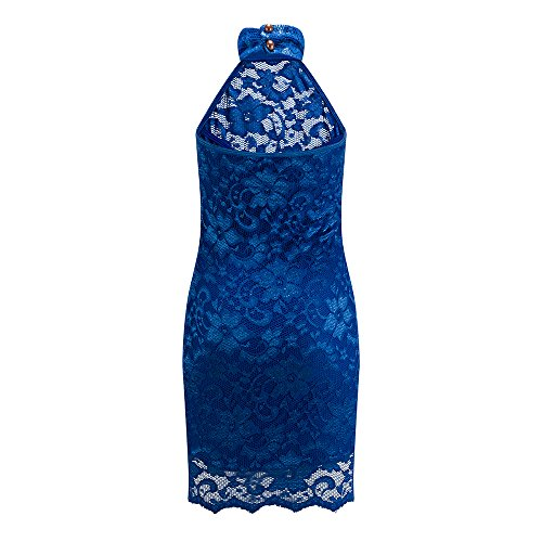 Cocktail Gown Women's Dress Mini Neck Halter Bewish Bodycon Blue Lace Pencil Backless Sexy vgqBFC