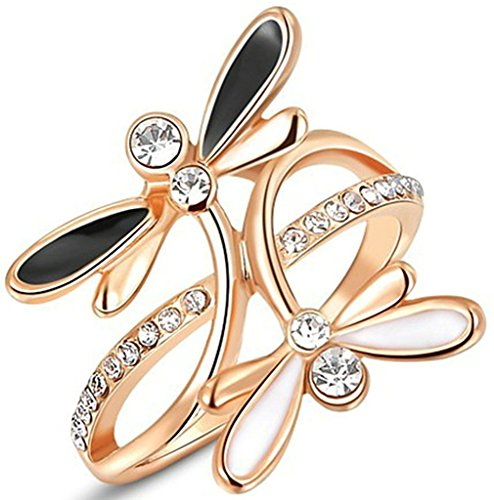 American Dragon Rose (Alimab Jewelry Rings 18k Gold Plated Womens Wedding Bands Black and White Dragonfly Size 8 Rose Gold)