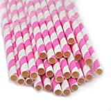 Carejoy® 1 Pack(25 pcs)Biodegradable Reusable Environmental Paper Striped Party Straws-Pink Stripe