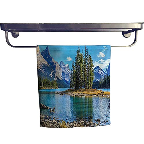 "HoBeauty home Absorbent Towel, Scenery of Spirit Island on Maligne Lake Canada in a Summer Time,spa, Gym etc, Strength, high Absorbency and Fast Drying W 14"" x L 27.5"""