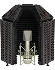 XTUGA Microphone Isolation Shield,A Top Enclosed Soundproof Cover,Foldable Portable Adjustable Noise Isolation Shield Recording Foam Board, Used for Studio Mic,Podcasting, Broadcast Recording