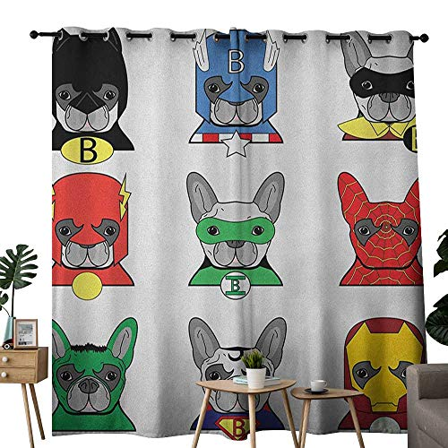 NUOMANAN Blackout Curtains 2 Panels Superhero,Bulldog Superheroes Fun Cartoon Puppies in Disguise Costume Dogs with Masks Print, Multicolor,for Room Darkening Panels for Living Room, Bedroom 52
