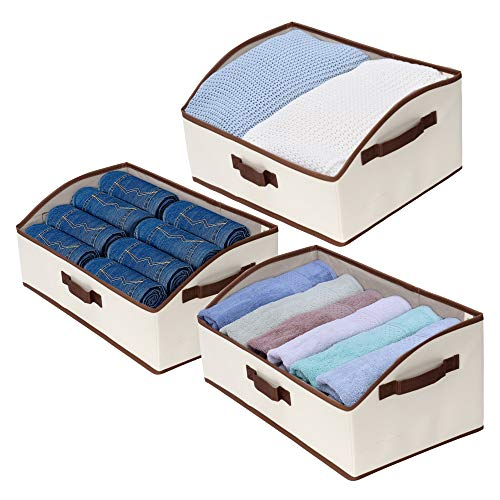 (StorageWorks Storage Bins, Fabric Storage Baskets, Foldable Closet Organizer Trapezoid Storage Box, Polyester Canvas, Beige, EX-Jumbo, 3-Pack)