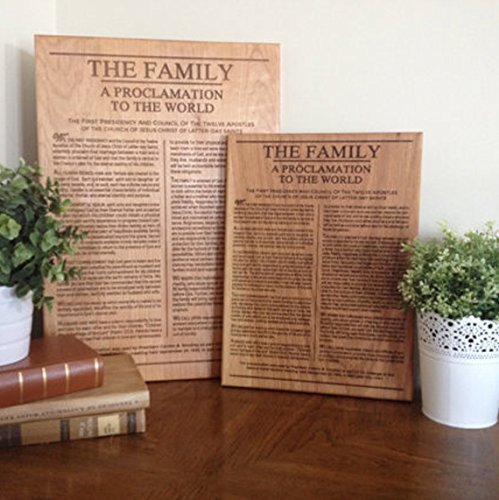 The Family Proclamation To The World Engraved on Wood, LDS art, Mormon sign (Proclamation To The World On The Family)