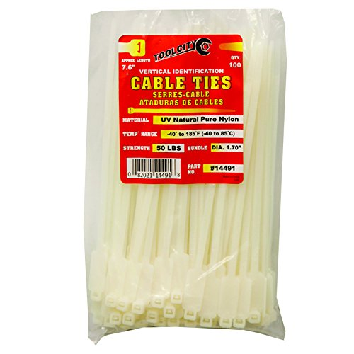 Tool City 14491 Cable Tie, White, 7.6''