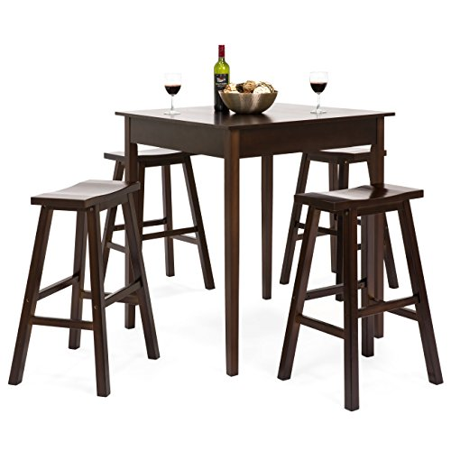 High Top Tables Chairs (Best Choice Products 5 Piece Solid Wood Dining Pub Bar Table Set with 4 Backless Saddle Stools)