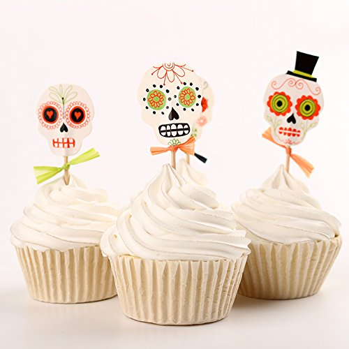 Fumee 24 Pieces Halloween Day Colorful Skull Cake and Cupcake Toppers, Decorations for Birthdays Party]()
