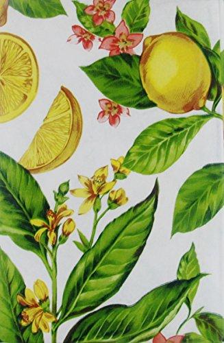 """Flowering Lemons Vinyl Flannel Back Tablecloths (52"""" x 70"""" Oblong)"""