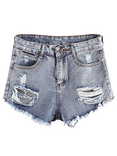 (MAKEMECHIC Women's Bleached Frayed Raw Hem Ripped Pocket Distressed Jean Denim Shorts 1-Blue)