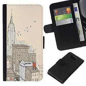 KLONGSHOP // Tirón de la caja Cartera de cuero con ranuras para tarjetas - Ciudad de Nueva York Pintura Empire Building - Samsung ALPHA G850 //