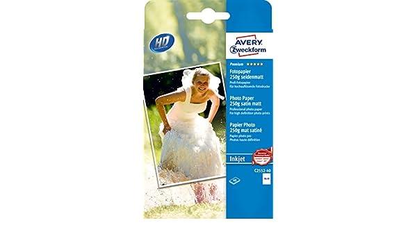Avery Zweckform c2552/ 250/G//M/² /40/Premium carta fotografica per stampanti a getto d inchiostro 40/fogli