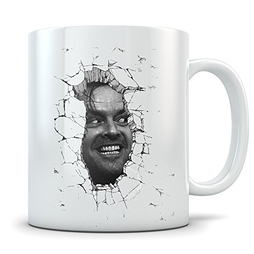 The Shining Here's Johnny Mug - Jack Nicholson Horror Movie Cup - White Ceramic Coffee Mug with Quality Print