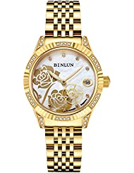 BINLUN Womens Automatic Watches Rose Second Hand Diamante Waterproof Wrist Watch for Ladies